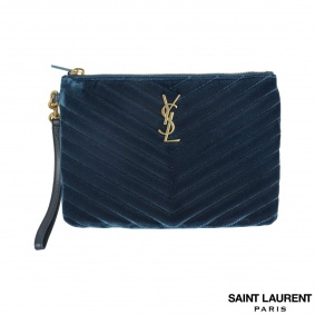 Unworn Yves Saint Laurent Velvet Chevron Clutch